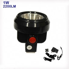 1W Miner Head Light Lamp 2200LM 1+6 Auxiliary LED Safety Cap Cordless