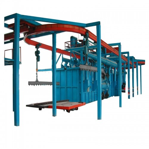 Overhead rail shot blasting machine