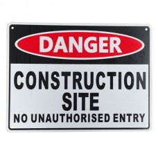 Warning sign danger construction site no unauthorise entry 225x300mm