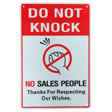 Warning sign do not knock sales people 200x300mm metal provate property