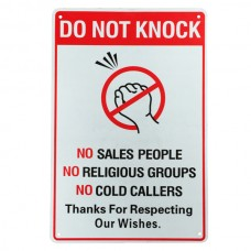 Warning sign do not knock sales religious cold caller 200x300mm private