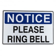 Warning notice please ring bell sign 200x300mm home private property