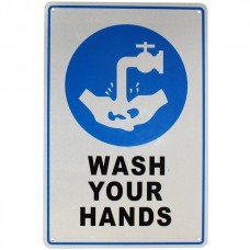 Warning sign wash your hands first aid safety sign 225x300mm metal